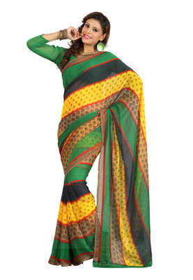 Fabdeal Multi Colored Colombus Chiffon Printed Saree