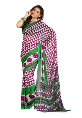 Fabdeal Purple Colored Colombus Chiffon Printed Saree