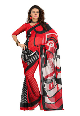 Fabdeal Red Colored Colombus Chiffon Printed Saree