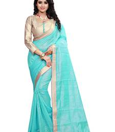 Buy Sky Blue Lace Border Jacquard saree With Blouse jacquard-saree online