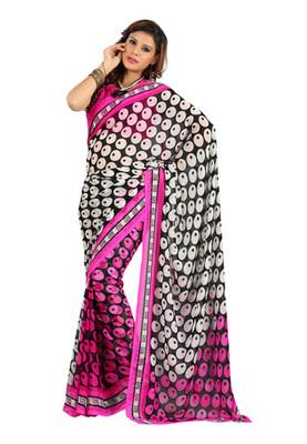 Fabdeal Black Colored Colombus Chiffon Printed Saree