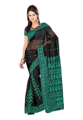 Fabdeal Black Colored Georgette Resham Embroidery Saree