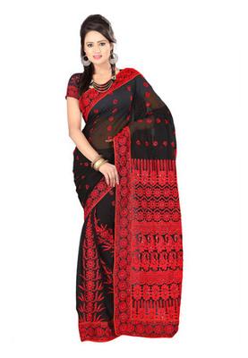 Fabdeal Black Colored Georgette Resham Embroidery Saree
