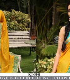 Buy yellow embroidered art silk saree With Blouse art-silk-saree online