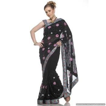 Versatile Black , Viscous Georgette Sari Embroidered With Sequins,Crystals And Motifs All Over