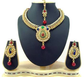 Peacock style style ruby emerald pearl cz gold tone necklace earring set t53