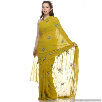 A Happening Green , Viscous Georgette Sari With All Over Embroidery