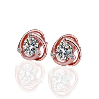 Cara  sterling silver and certified Swarovski stone studded Rose Gold Here and There earrings for women