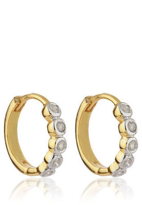 Cara sterling silver and certified Swarovski stone studded  Bold Circle of life with gold polish earrings for Women