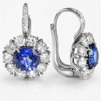 Cara sterling silver and certified Swarovski stone studded  Blue and Me Silver earrings for Women
