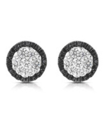 Cara sterling silver Black and Swarovski Stone alternate earrings for Women