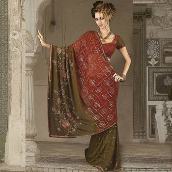 Exclusive Mehandi Green Embroidered Saree In Dual Tone