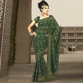 Ethnik Green Saree With Delicate Thread Embroidery In Jaal Pattern