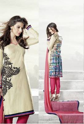 Captivating Cream Lenin & Cotton Print Salwar Kameez