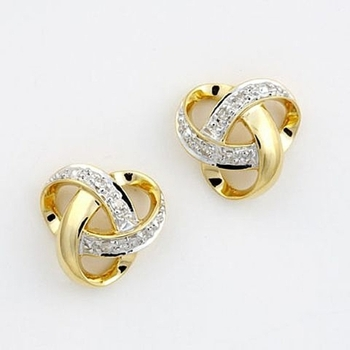 Cara sterling silver and certified Swarovski stone studded  Intermingle my heart Silver earrings for