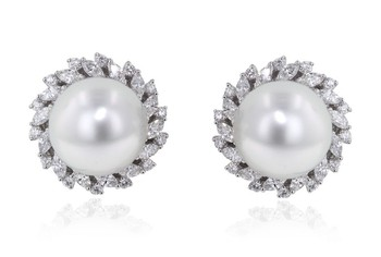Cara sterling silver and certified Swarovski stone studded  Swarovski and Pearl Round earrings for Women