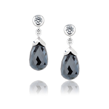 Cara  sterling silver and certified Swarovski stone studded Black Stone Danglers with Swarovski stone for Women