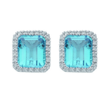 Cara sterling silver and certified Swarovski stone studded  Blue Stone square different me earrings for Women