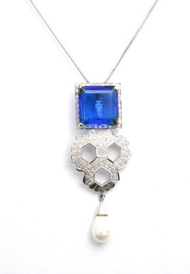 Cara sterling silver and  certified Swarovski stone Brilliance Blue pendant