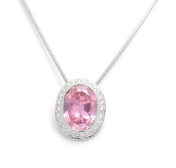 Cara sterling silver and  certified Swarovski stone Pretty Pink pendant