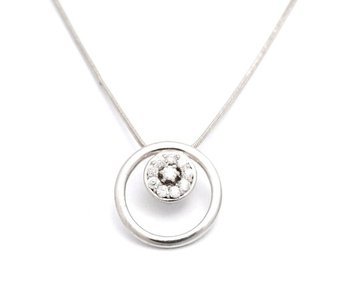 Cara sterling silver and  certified Swarovski stone Round In Round Pendant