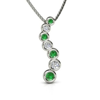 Cara sterling silver and  certified Swarovski stone Long green and Silver pendant