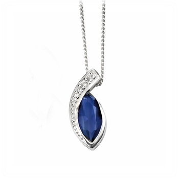 Cara sterling silver Hold me Close Blue Swarovski Stone pendant for Women
