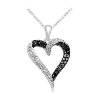 Cara sterling silver Black and White Swarovski Heart Pendant for Women