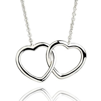 Cara sterling silver and  certified Swarovski stone Silver Dual Heart pendant for Women