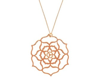 Cara sterling silver and  certified Swarovski stone Jaal Flower shape pendant for Women in Rose Gold Polish