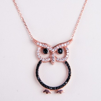 Cara sterling silver and  certified Swarovski stone Rose Gold Owl Pendant for Women