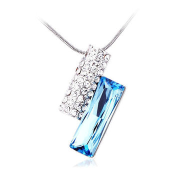 Cara sterling silver and  certified Swarovski stone Stud and Silver of the Ocean pendant for Women