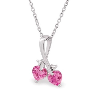 Cara sterling silver and  certified Swarovski stone Ribbon with Pink Stone pendant for Women