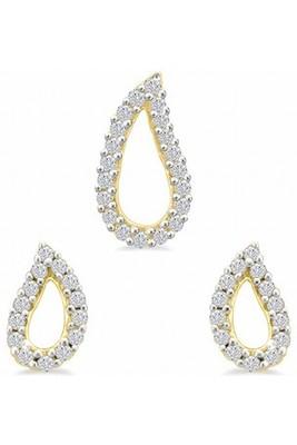 Cara  sterling silver and  certified Swarovski stone Drop Jewel Pendant Set