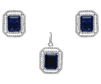 Cara sterling silver and  certified Swarovski stone Blue with studs pendant set