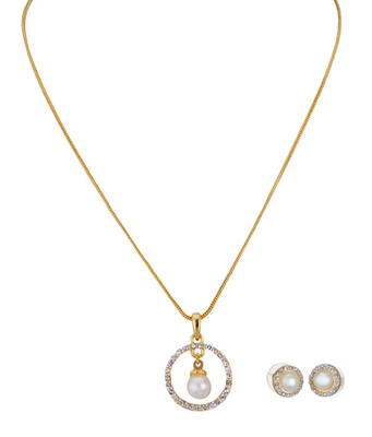 Cara sterling silver and  certified Swarovski stone Pearl and Studs Pendant Set
