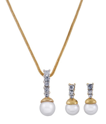 Cara sterling silver and  certified Swarovski stone Pearl and Rose Gold Pendant Set