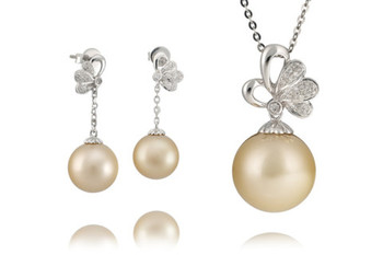 Cara sterling silver and  certified Swarovski stone Studs with Pearl Pendant Set