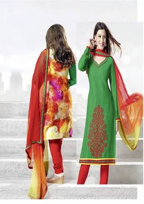 Chic Green Lenin & Cotton Print Salwar Kameez
