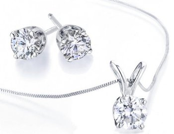 Cara sterling silver and  certified Swarovski stone Simple Swarovski Stud pendant set