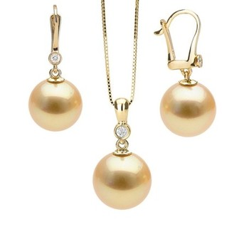 Cara sterling silver and  certified Swarovski stone Rose Gold Pearl Drop Pendant Set