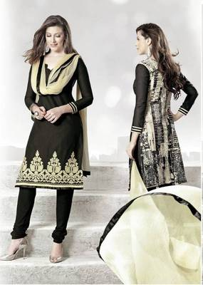 Exotic Black Lenin & Cotton Print Salwar Kameez