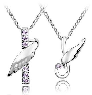 Cara sterling silver and  certified Swarovski stone You are my wings Couple Pendants