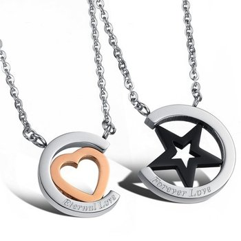 Cara sterling silver and  certified Swarovski stone Eternal and Forever Love Couple Pendants