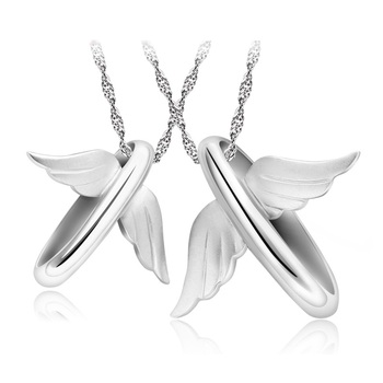 Cara sterling silver and  certified Swarovski stone Wings of freedom couple pendants