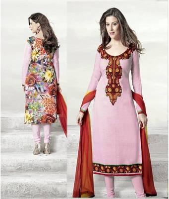 Classy Pink Lenin & Cotton Print Salwar Kameez