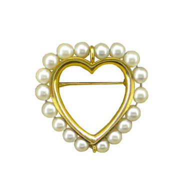 Cara sterling silver and  certified Swarovski stone Rose Gold Heart with Pearl Brooch