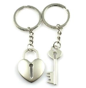 Cara sterling silver and  certified Swarovski stone Key to my heart dual key chains