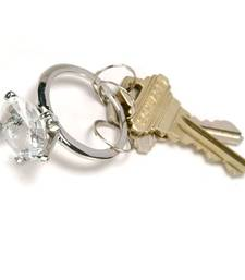 Buy Cara sterling silver and  certified Swarovski stone Stud Ring key chain in Silver key-chain online