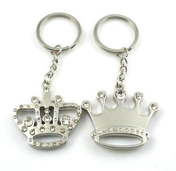 Cara sterling silver and  certified Swarovski stone King and Queen silver key chains